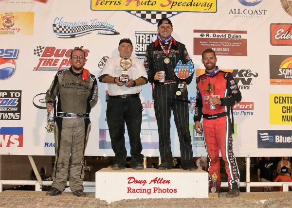 Winner Matt Mitchell (second from right) is flanked by 2nd place finisher Austin Williams (far right) and 3rd place finisher Ronnie Gardner (far left).