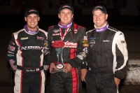 Mike Spencer, Ryan Bernal and Danny Faria Jr. share the podium at Tulare.
