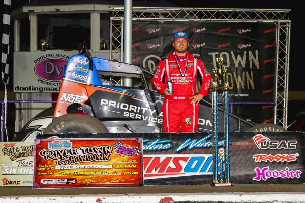 Tyler Courtney earned his ninth USAC AMSOIL National Sprint Car win of the year Friday night at Tri-City Speedway.