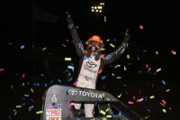 "Christopher Bell celebrates his victory in Thursday night's 77th ""Turkey Night Grand Prix"" at Ventura (Calif.) Raceway."