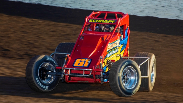 #61m Stephen Schnapf, a first-time USAC AMSOIL National Sprint Car feature winner Sunday night at Tri-State Speedway in Haubstadt, Ind.