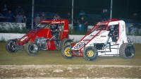 Seth Carlson (#4) battles Melvin Pierson (#33) en route to victory Saturday night at Bear Ridge Speedway.