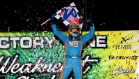 Tyler Courtney captured Wednesday's Eastern Midget Week opener at Action Track USA.