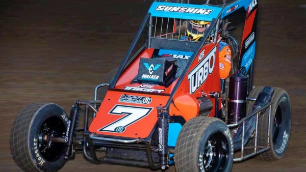 Friday's Werco Manufacturing T-Town Midget Showdown presented by B & H Contractors USAC NOS Energy Drink National Midget feature winner Tyler Courtney.