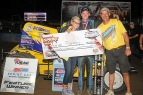 Aaron Farney enjoys victory at Terre Haute with his parents.