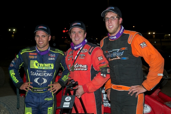 Winner Mike Spencer is flanked by runner-up Richard Vander Weerd (r) and third-place Michael Pickens (l) at Watsonville.