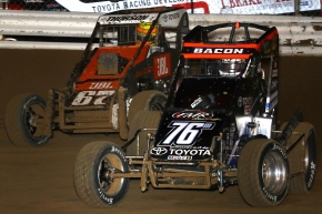 "#76m Brady Bacon battles with Tanner Thorson on his way to victory in the 2016 ""Jason Leffler Memorial."""