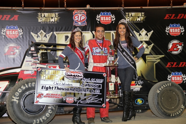 Chris Windom celebrates his second win of the night on Saturday in Eldora Speedway victory lane.