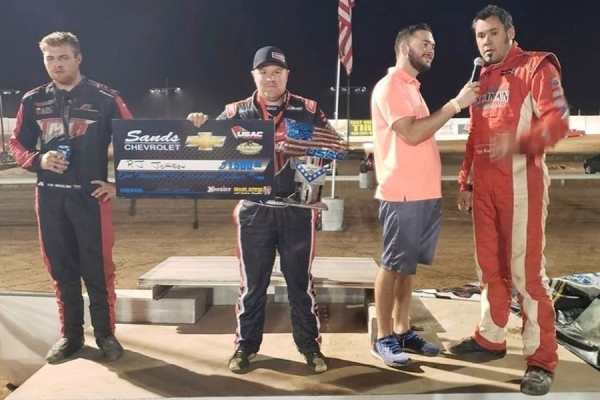 Arizona Speedway Podium – Tye Mihocko (3rd), R.J. Johnson (1st), Mike Martin (2nd)