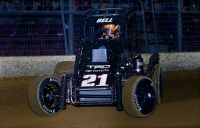 "Christopher Bell at speed on his way to the ""Junior Knepper 55"" USAC Midget Special Event victory Saturday at the Southern Illinois Center in Du Quoin."