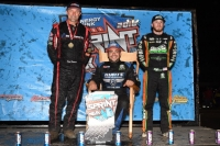 "The top-3 in 2018 NOS Energy Drink ""Indiana Sprint Week"" points - champion Chris Windom (middle), 2nd place Kevin Thomas, Jr. (right), plus race winner and 3rd place in points, Dave Darland."