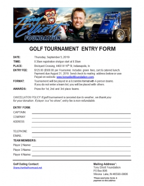 2019 TONY ELLIOTT FOUNDATION GOLF TOURNAMENT - SEPT. 5