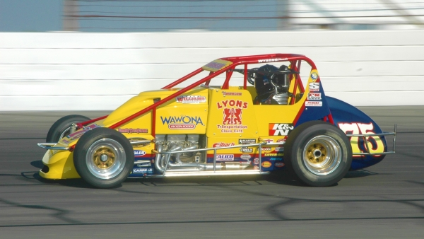 Kody Swanson during his first career USAC National Sprint Car win in 2011 at Lucas Oil Raceway.