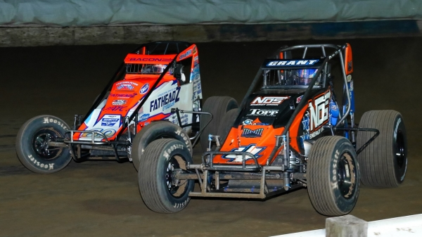 #4 Justin Grant & #69 Brady Bacon battle for position at the Terre Haute (Ind.) Action Track.