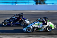#38 Jesse Love IV and #75 Annie Breidinger battle for position at Las Vegas.
