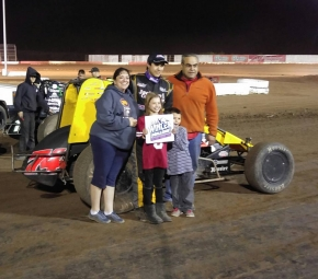 Josh Hodges poses in victory lane at Canyon Speedway Saturday.
