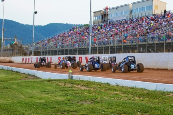 The front straightaway of Port Royal Speedway