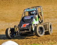 Troy, Ohio's Korbyn Hayslett won last Saturday night's USAC Speed2 Midwest Thunder Midget race at Montpelier (Ind.) Motor Speedway.