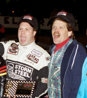 Steve Chrisman (right) celebrates with driver Kevin Doty following their first USAC National Sprint Car feature victory together in 1995 at Eldora Speedway.