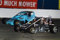 "#60 Cody Gerhardt and #40 David Byrne battle during last year's ""Dave Steele Carb Night Classic."""