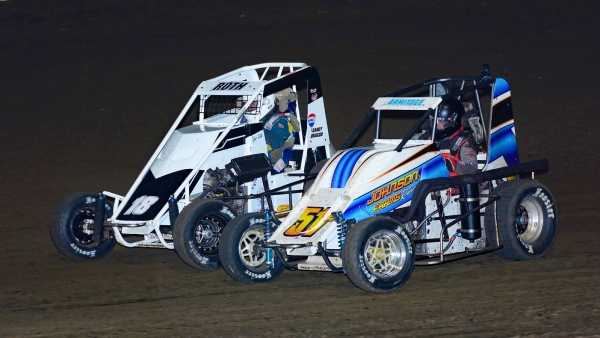 #18 Tyler Roth & #51 Will Armitage race side-by-side in USAC Engler IMRA Midget action during the 2020 season.