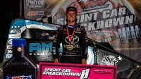 Logan Seavey celebrates his first career USAC AMSOIL National Sprint Car feature win following Friday's Sprint Car Smackdown VIII night two at Kokomo Speedway.