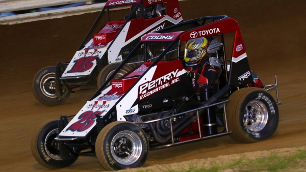 Jerry Coons, Jr. (#25) battles for position in last year's Jason Leffler Memorial.