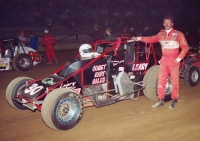 Chuck Leary prior to the start of his 1997 Hoosier Hundred victory at the Indiana State Fairgrounds.