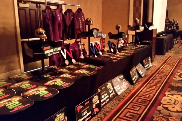The awards table at the USAC Western banquet held last weekend in Las Vegas.