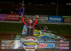 Dave Darland became the first driver to reach 60 career USAC AMSOIL National Sprint Car feature wins with his victory Friday night at Bloomington (Ind.) Speedway.