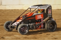 New USAC Indiana Midget Championship point leader Tanner Thorson on his way to victory last Wednesday night at Plymouth Speedway.