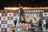"C.J. Leary won his fourth USAC AMSOIL National Sprint Car feature of the season, and his first at Eldora Speedway, in Saturday's 36th ""4-Crown Nationals."""