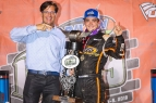 BC39 winner Brady Bacon (right) poses with Indianapolis Motor Speedway President Doug Boles in victory lane following his victory Thursday night.