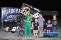 Super 600 feature winner Michael Faccinto