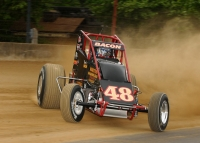 "Brady Bacon qualifies quick-time at the ""Hoosier Hundred"" USAC Silver Crown race in May of 2016 at the Indiana State Fairgrounds."