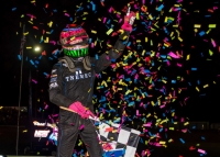 C.J. Leary celebrates victory at Bloomington in 2018.