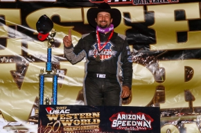 "Thomas Meseraull celebrates his ""Western World"" Night 1 victory Friday at Arizona Speedway."