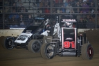 "Tyler Thomas (#91T) and Spencer Bayston battle for position in the 2015 ""Junior Knepper 55"" at the Southern Illinois Center in Du Quoin."