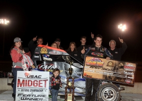 Brady Bacon and crew celebrate in victory lane at Kokomo (Ind.) Speedway.