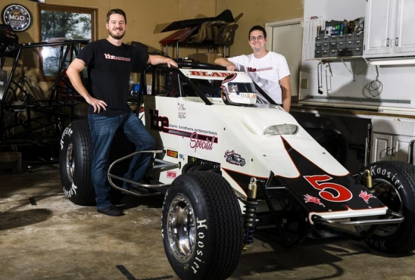 "USAC Silver Crown driver J.C. Bland (left) and brother/crew chief Bill Bland have their Bland Brothers Enterprises #5 USAC Silver Crown car ready for this Saturday's ""Bettenhausen 100"" at the Illinois State Fairgrounds in Springfield."