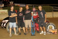 "An elated Chris Urish and crew enjoy their first Traxxas Silver Crown Series win in Sunday's ""Ted Horn 100"""