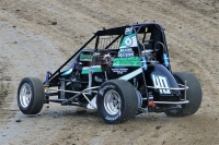 Chase McDermand won Saturday night's USAC IMRA Midget feature at 34 Raceway.