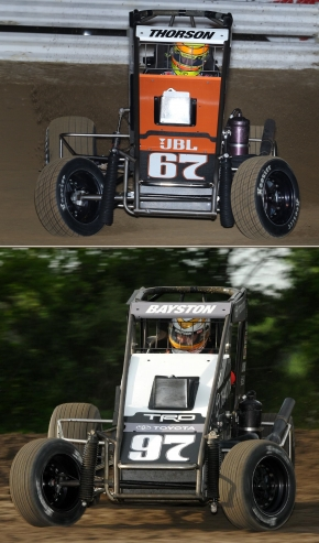 "#67 Tanner Thorson leads #97 Spencer Bayston in the USAC National Midget point standings heading into Thursday night's 76th ""Turkey Night Grand Prix"" at California's Ventura Raceway."