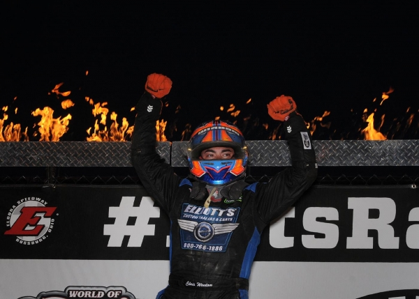 Chris Windom celebrates a win at Eldora in 2018.