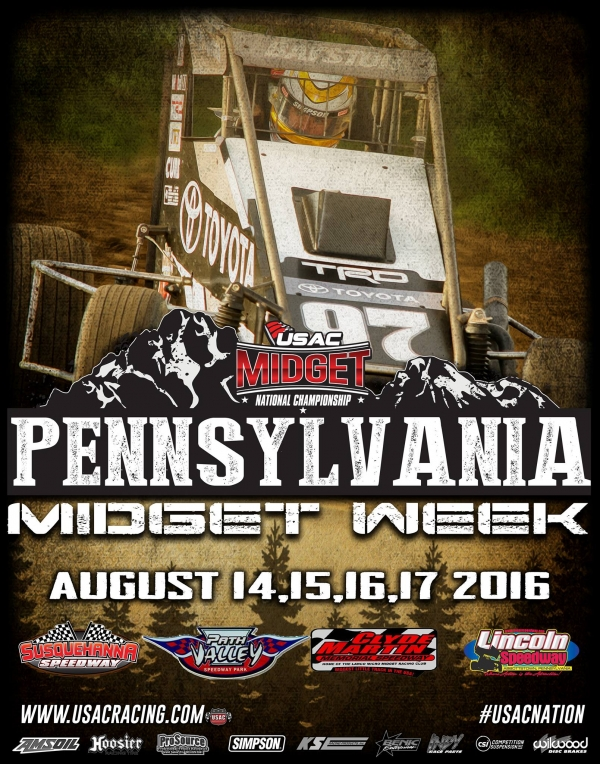 "FOUR-RACE USAC MIDGET ""PENNSYLVANIA MIDGET WEEK"" OPENS SUNDAY AT SUSQUEHANNA"