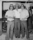 Bobby Hillin (middle) poses with his 1977 Indianapolis 500 team of Bubby Jones (left) and George Snider (right).