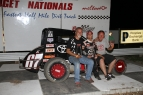 Thursday Belleville winner is joined in victory lane by Keith Kunz and Pete Willoughby...