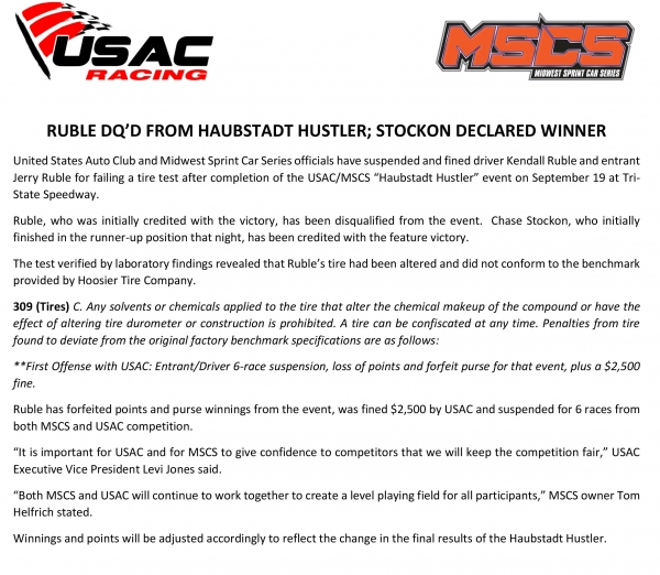 RUBLE DQ'D FROM HAUBSTADT HUSTLER; STOCKON DECLARED WINNER