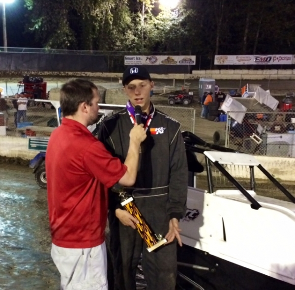 "Dougie James in interviewed after friday night's ""special event"" win at Deming, Wash."