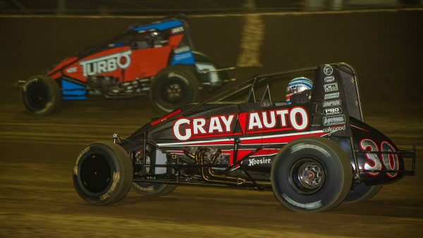 C.J. Leary (#30) battles Tyler Courtney (#7BC) for the lead en route to victory Saturday night during NOS Energy Drink Indiana Sprint Week at Kokomo Speedway.